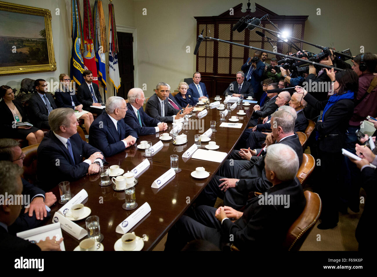 United States President Barack Obama, center, speaks while meeting with current and former diplomatic and national - Stock Image