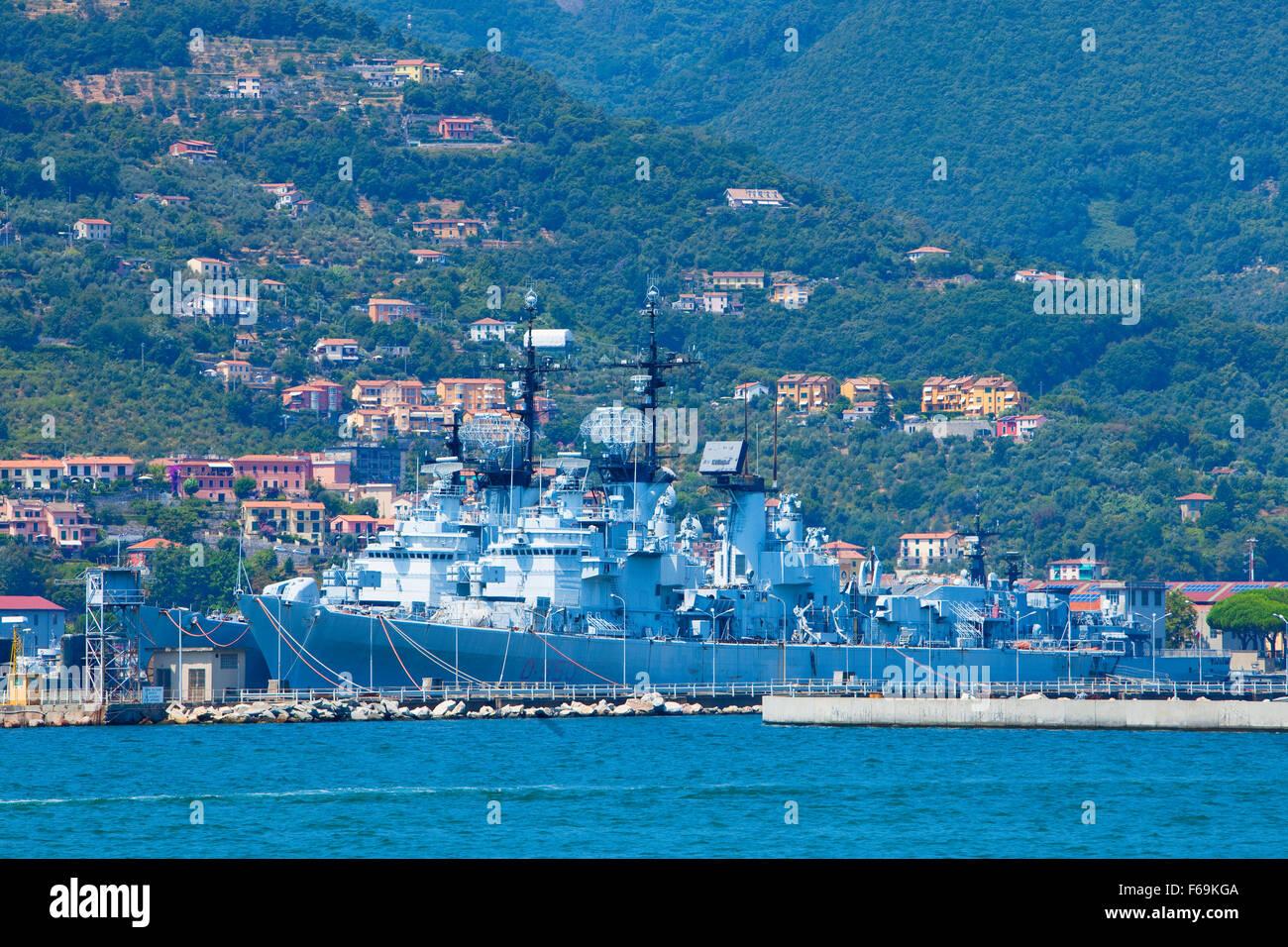 Italy, Liguria - Italy Navy Ship in Port of La Spezia. - Stock Image