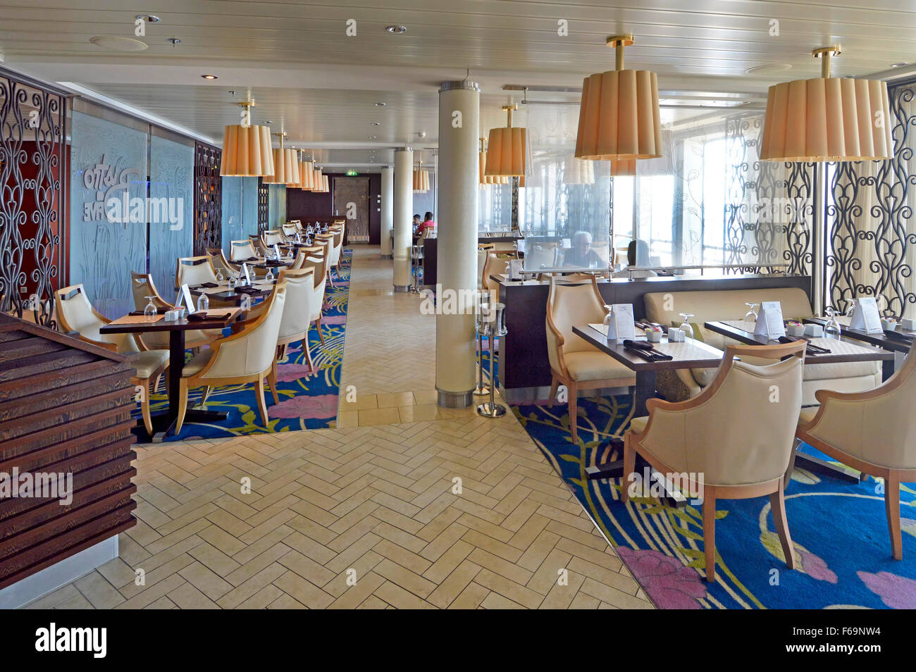 Cruise Ship Ocean Liner Mediterranean Cruising Small Informal Bistro Restaurant Option Away From The Main Restaurants