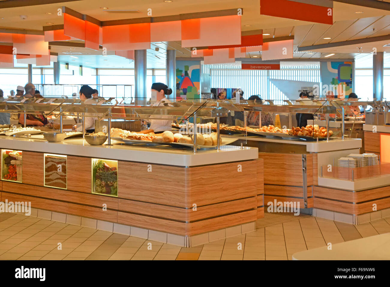 Cruise ship cafeteria deck ocean liner Mediterranean cruising early morning with breakfast buffet style self service - Stock Image