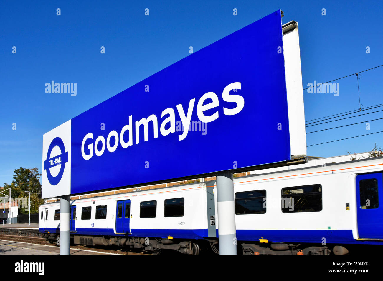 London suburban train station blue signage new 2015 by TFL prior to change to the Elizabeth Line when crossrail - Stock Image