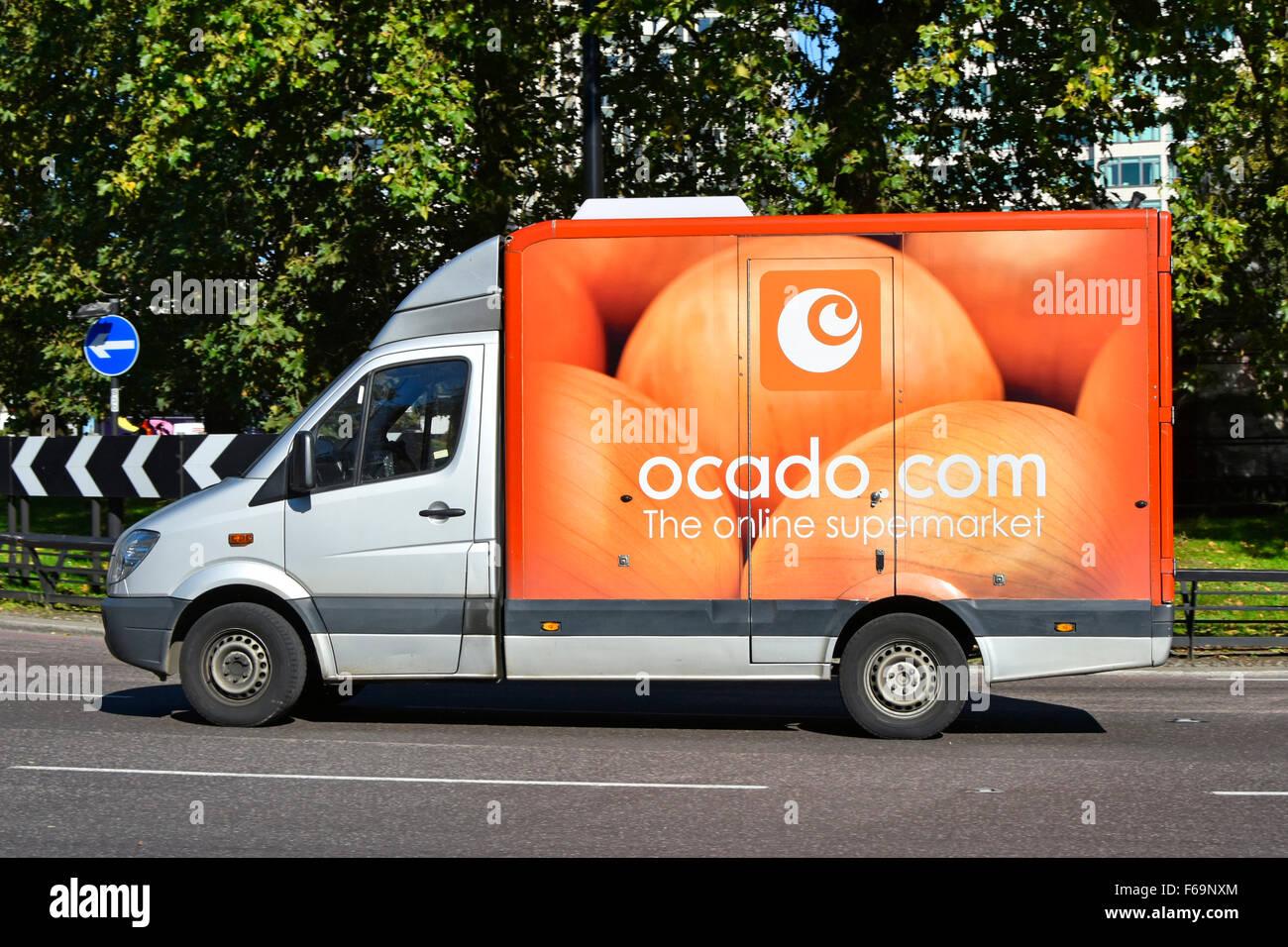 Ocado delivery van online internet food shopping supermarket