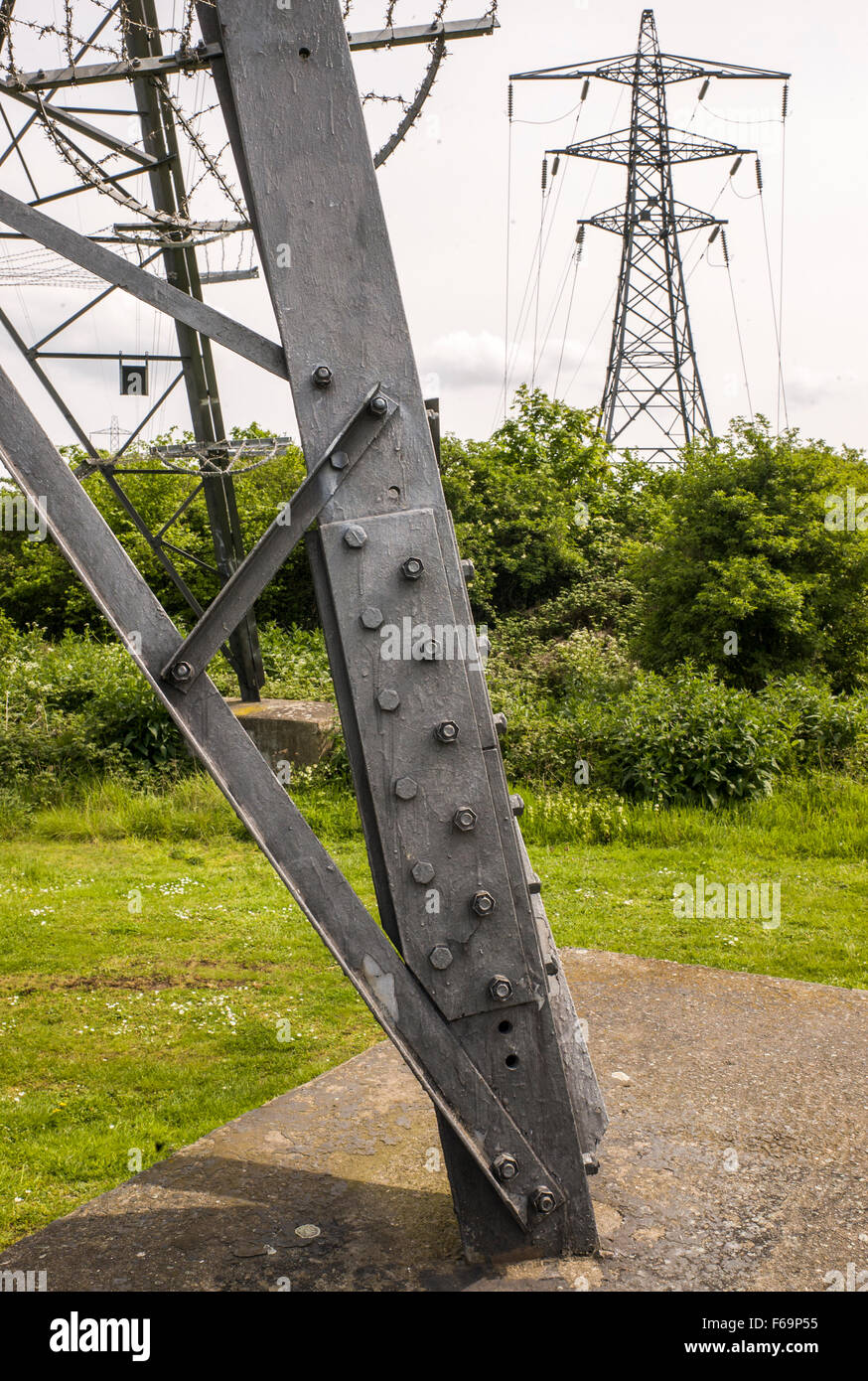 Electricity pylons of the National Grid carrying overhead power cables - Stock Image