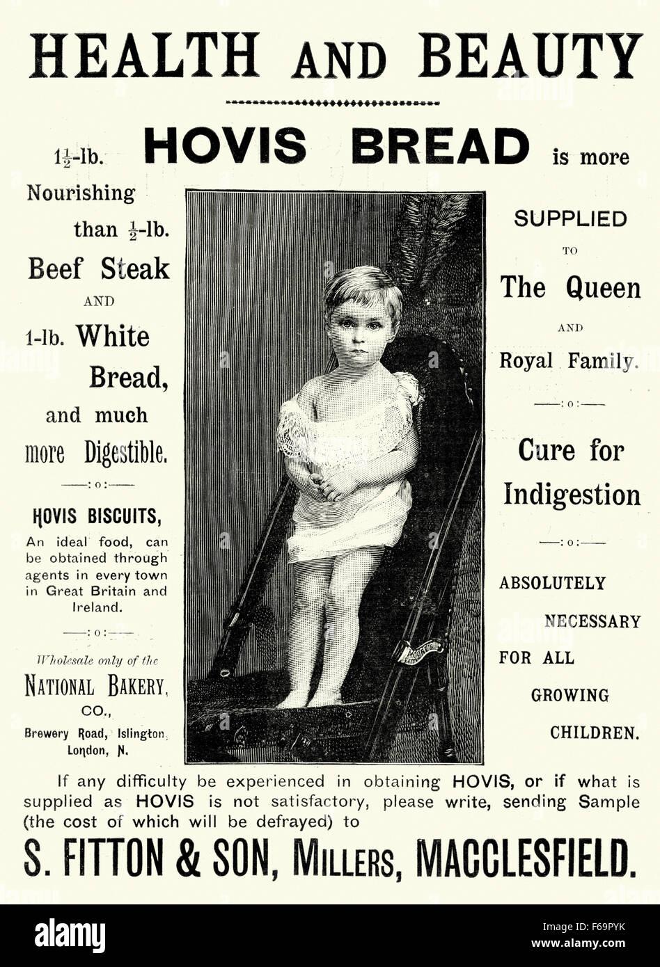Original period advertisement for Hovis Bread, 1893 - Stock Image