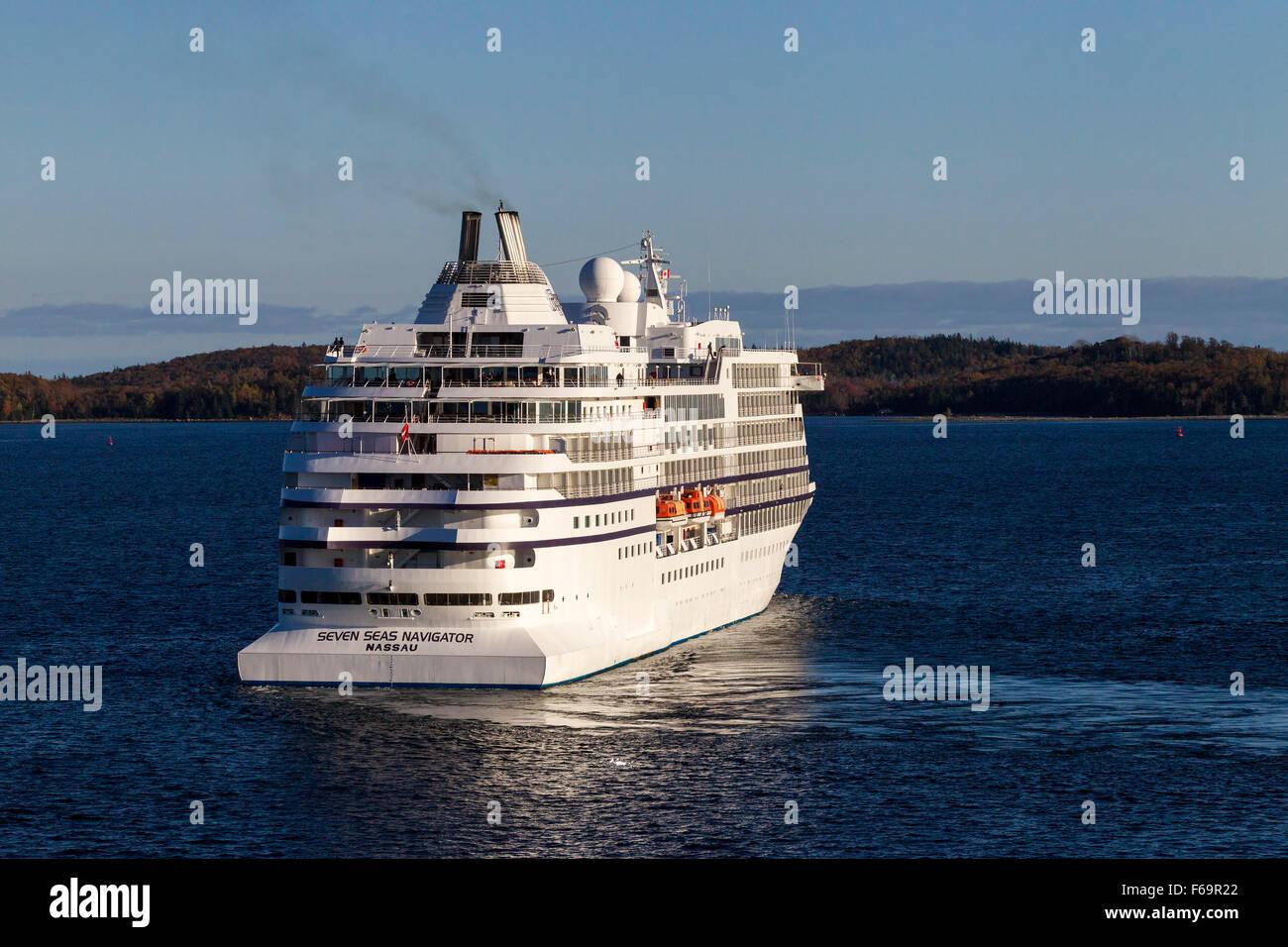 Cruise ship Regent, Seven Seas Navigator leaving Halifax, Nova Scotia. - Stock Image