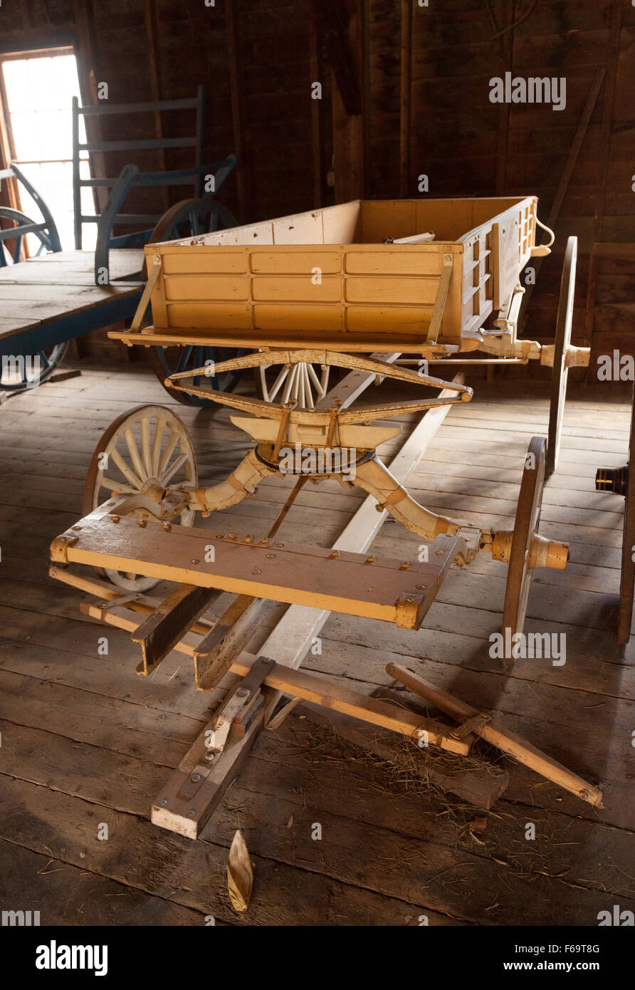 An express wagon from the 1800s used on a farm, Billings Farm, Woodstock, Vermont USA - Stock Image