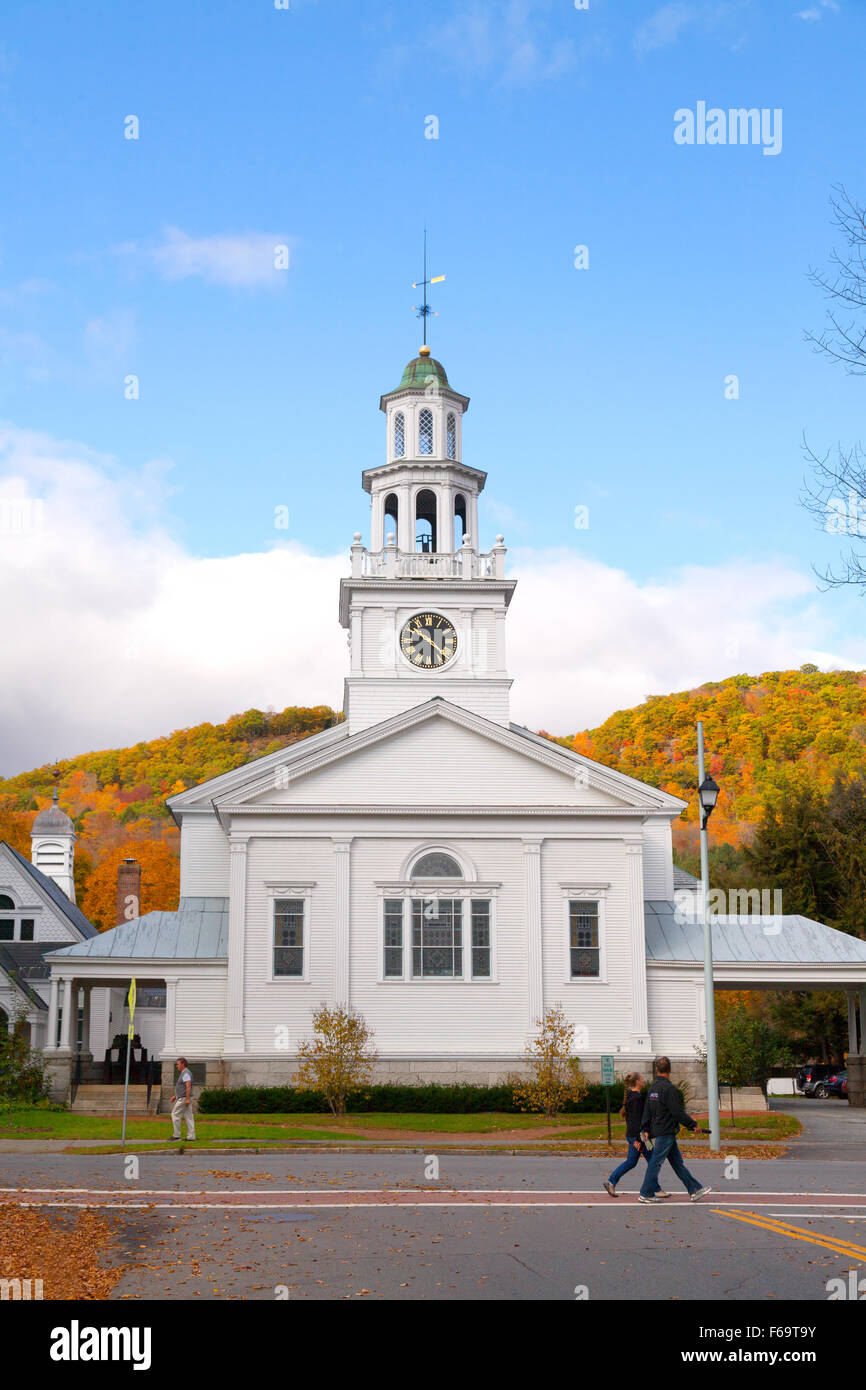 The 1st Congregational Church, Woodstock, Vermont, New England USA - Stock Image