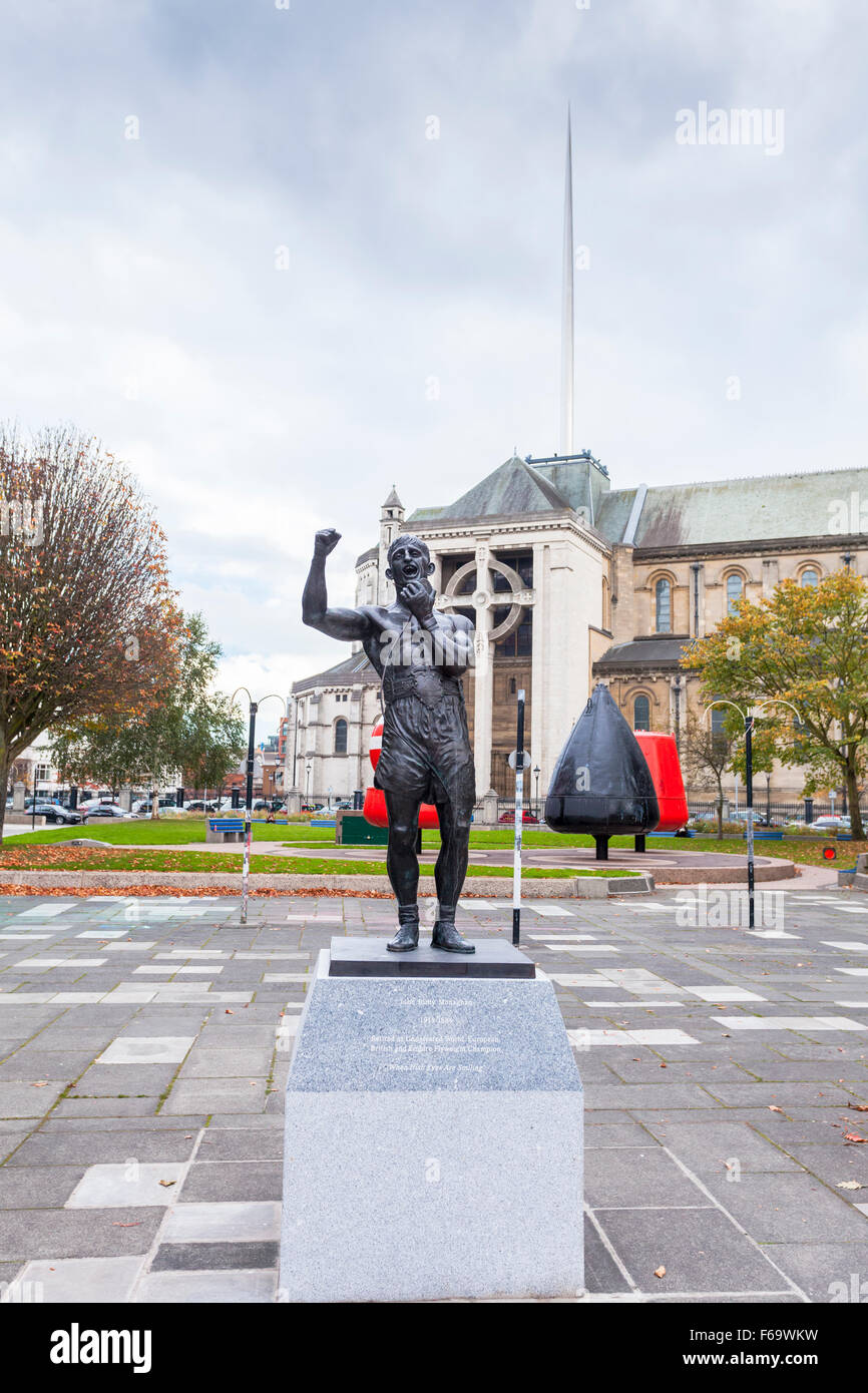 Statue of John 'Rinty' Monaghan in Cathedral gardens, Belfast - Stock Image