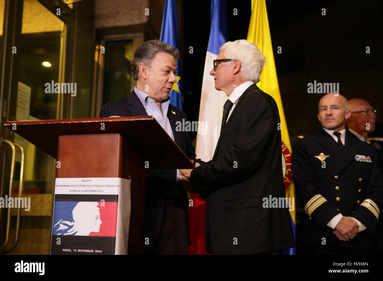 Bogota, Colombia. 14th Nov, 2015. Image provided by Colombia's Presidency shows Colombian President Juan Manuel - Stock Image