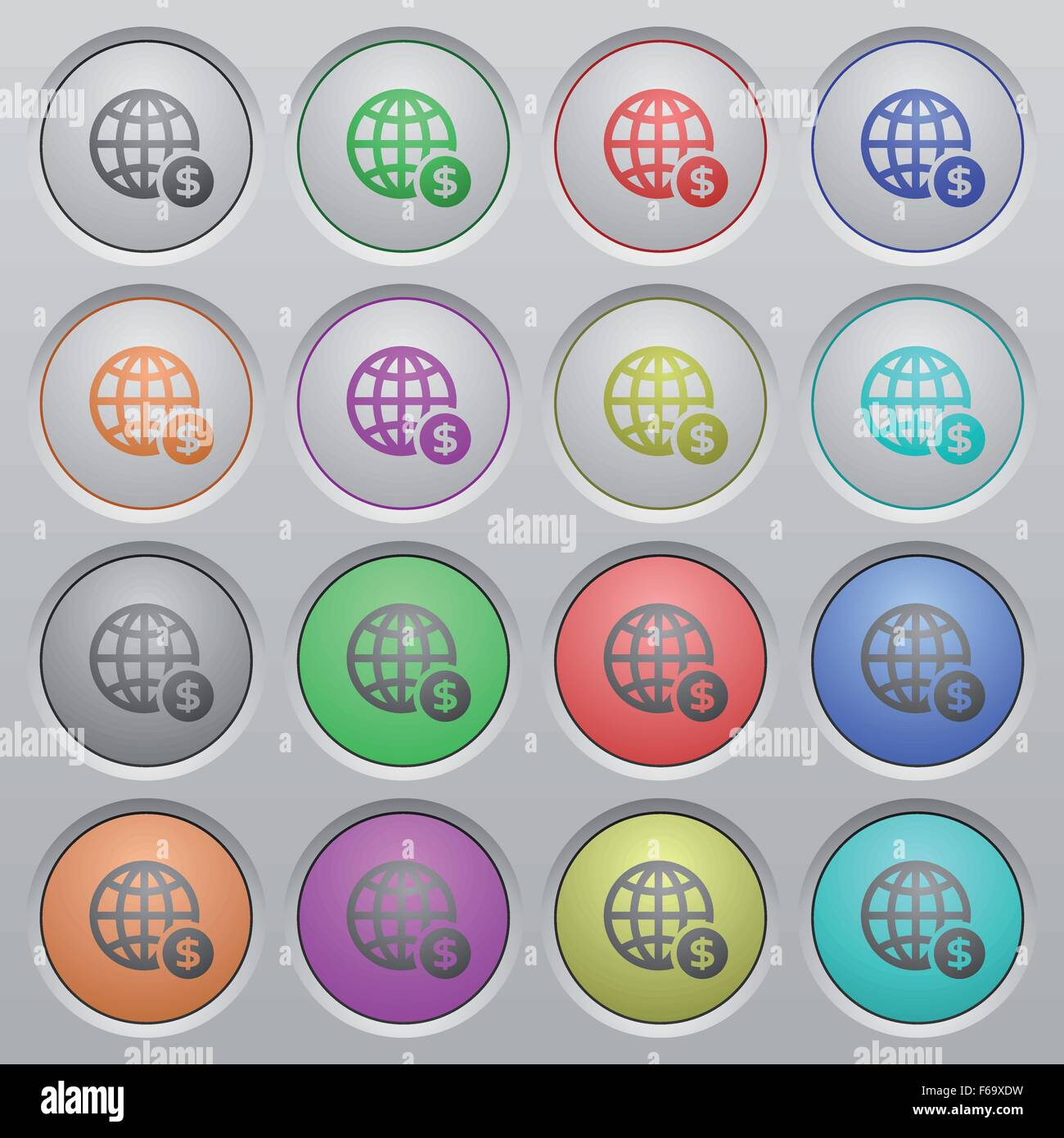 Set of online payment plastic sunk spherical buttons on light gray background. 16 variations included. Well-organized - Stock Image