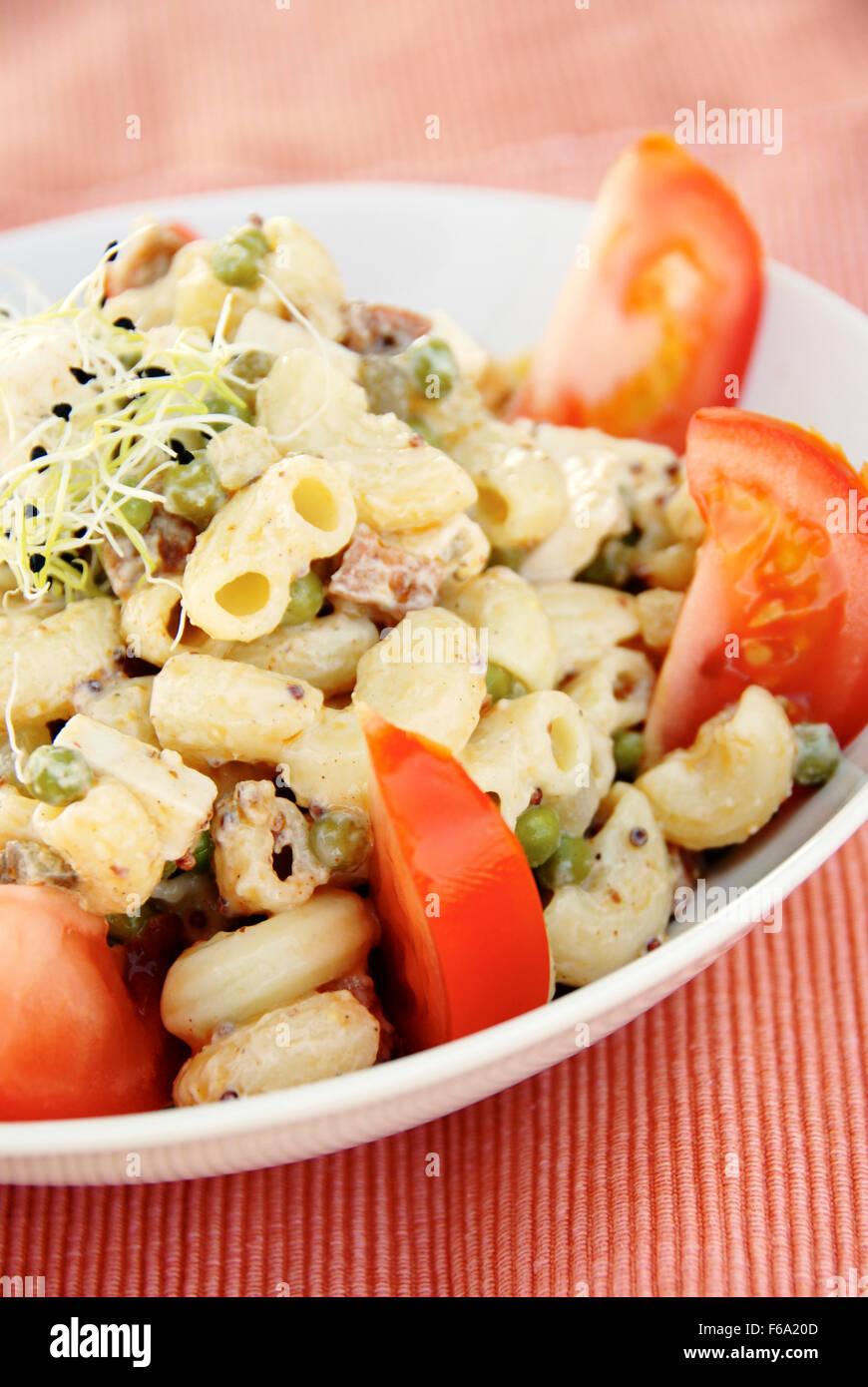 Vegan macaroni salad Stock Photo