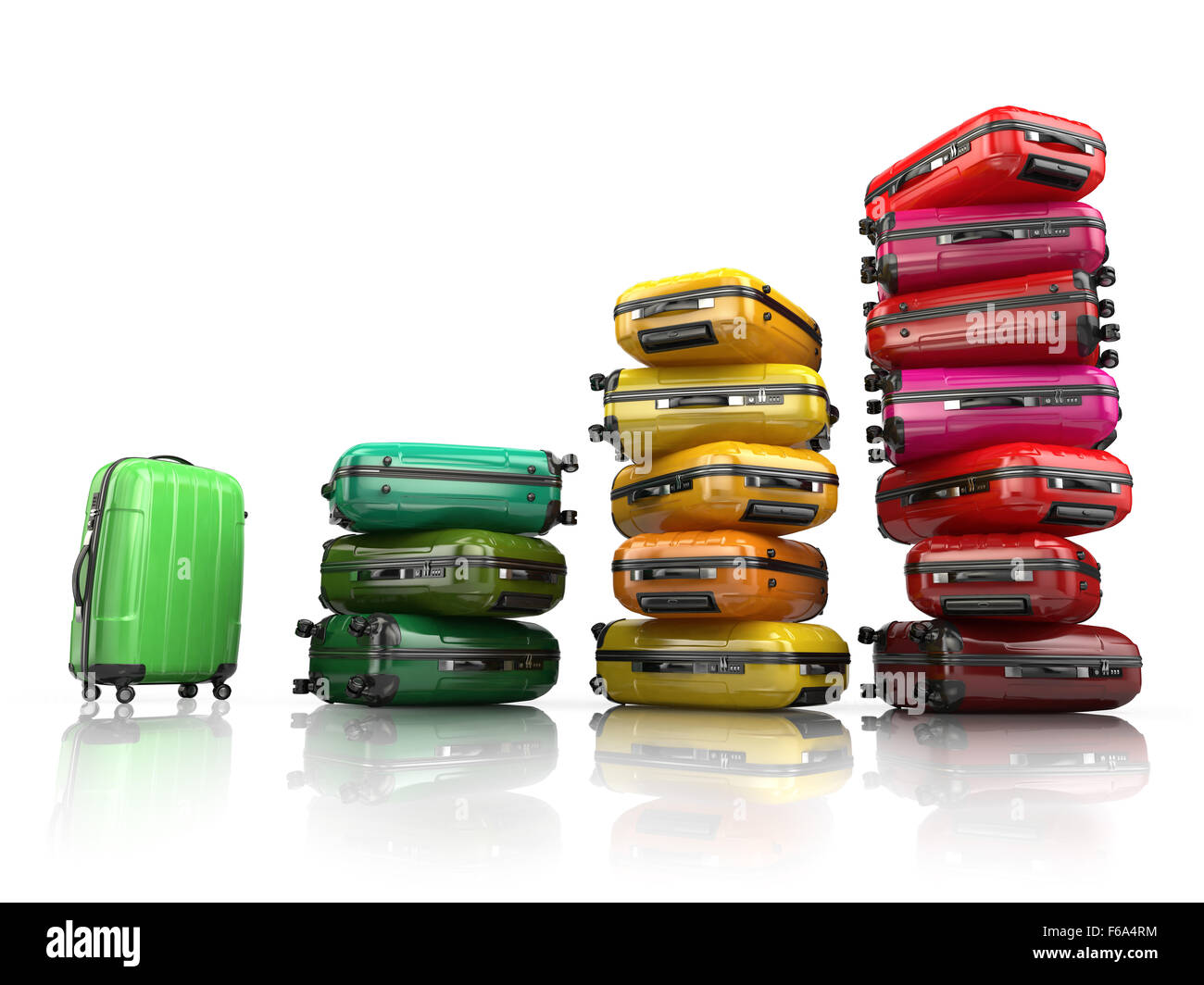 Heap of baggage Travel or tourism development concept
