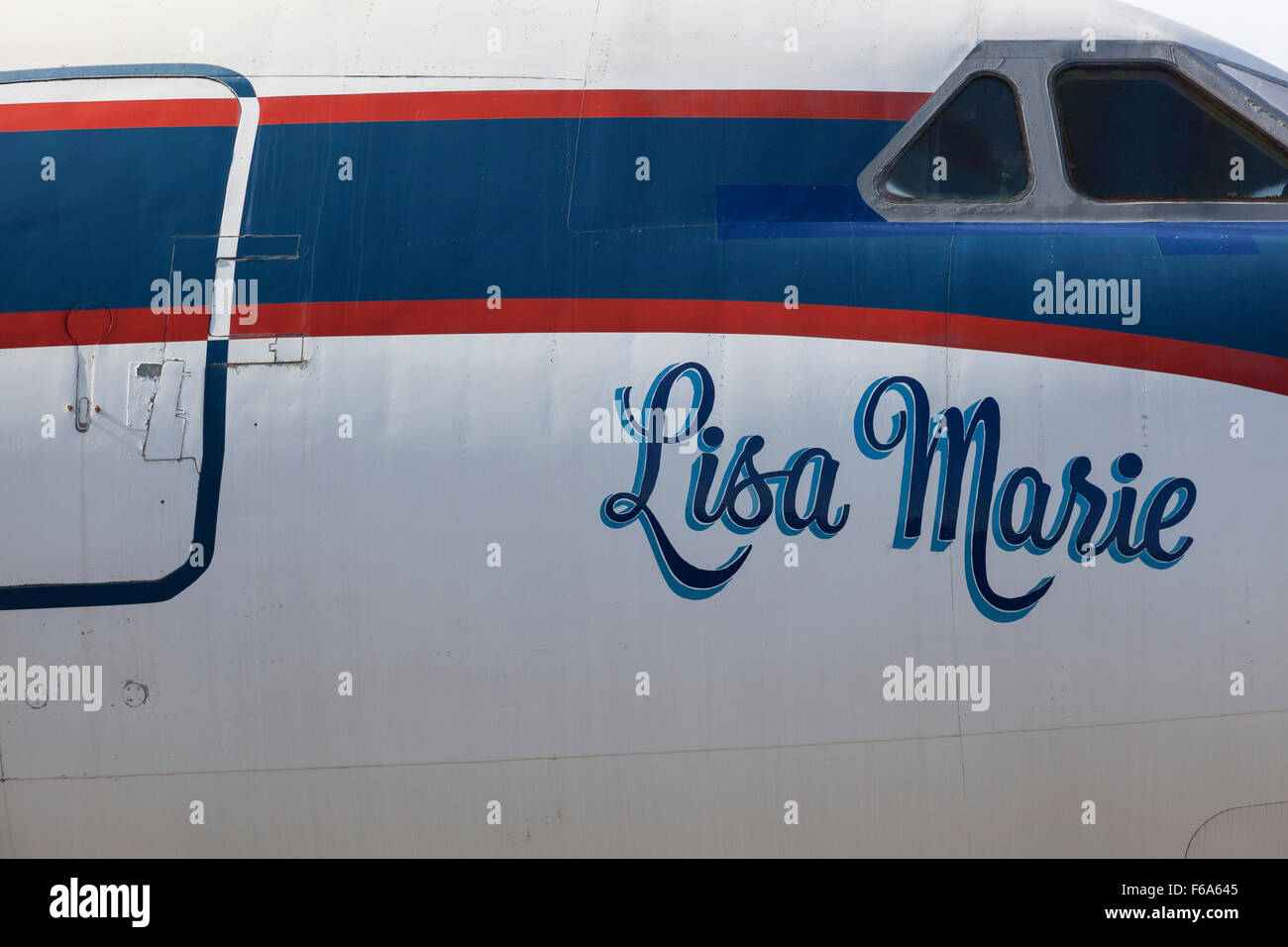 Elvis's private plane, The Lisa Marie, Graceland, Memphis, USA - Stock Image