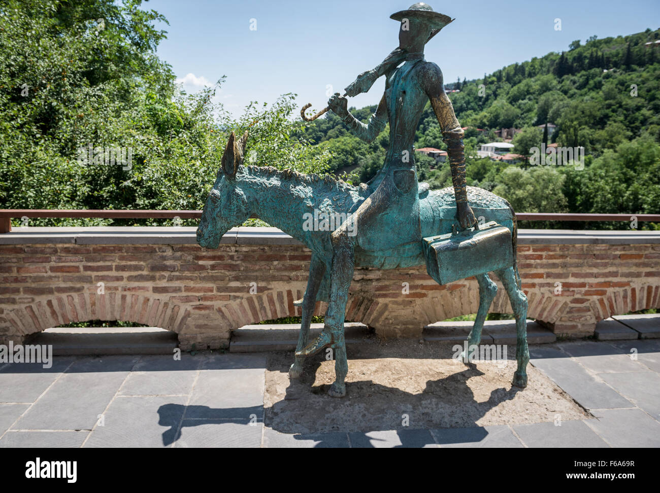 Statue of Healer on a donkey in Sighnaghi town in Kakheti region, one of the smallest town in Georgia - Stock Image