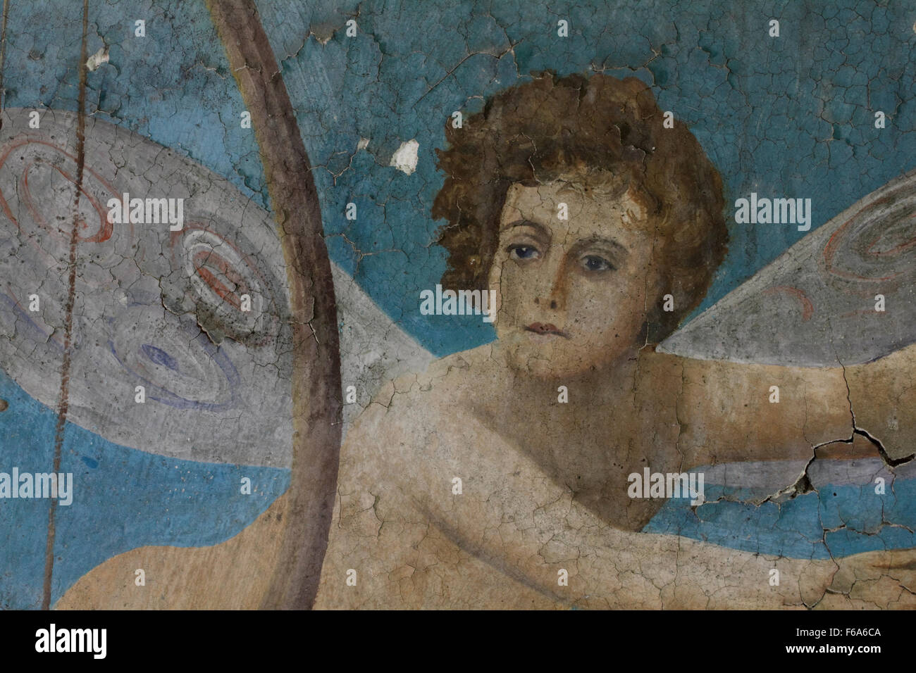 The decrepit flying angelic character part of the wallpainting's composition,entitled 'Artemis' by M. - Stock Image