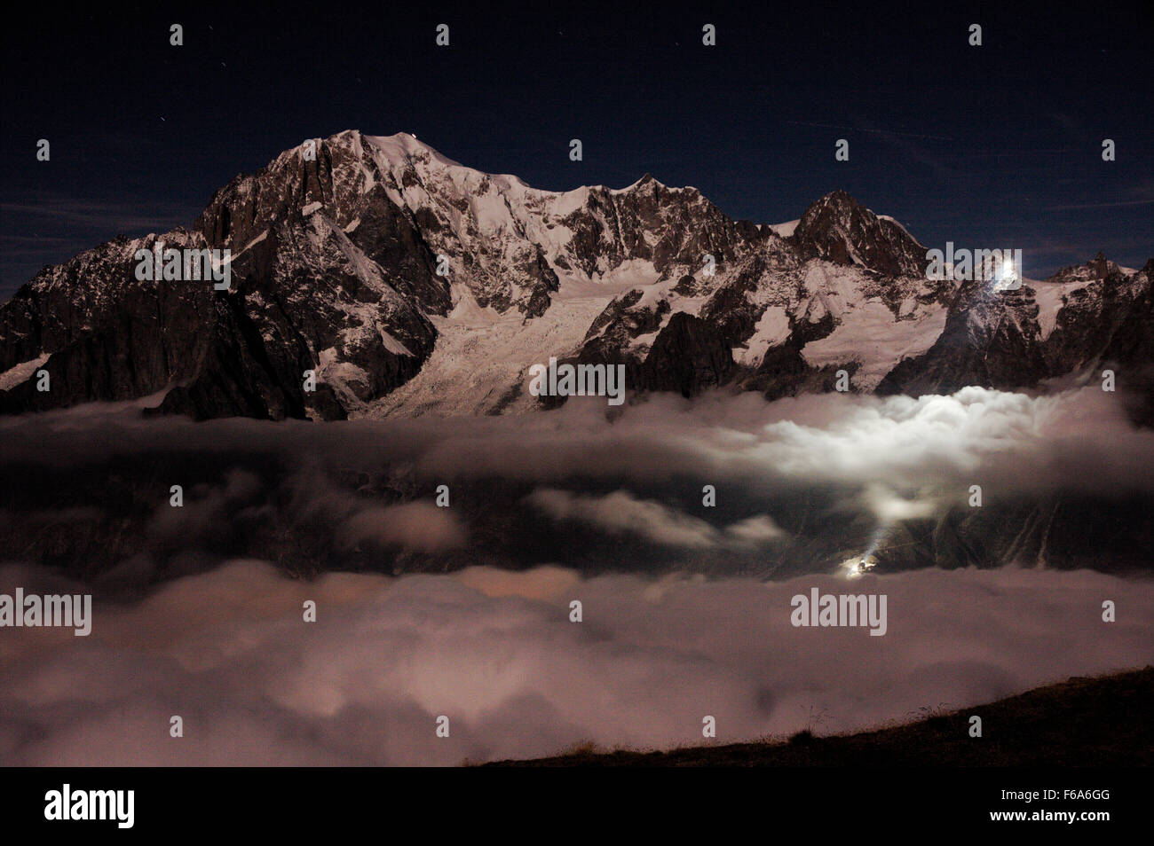Monte Bianco in the night - Stock Image
