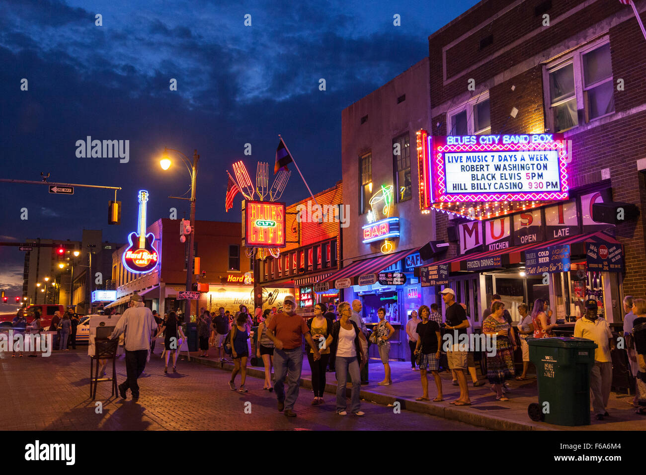 Beale Street at dusk, Memphis, Tennessee, USA - Stock Image