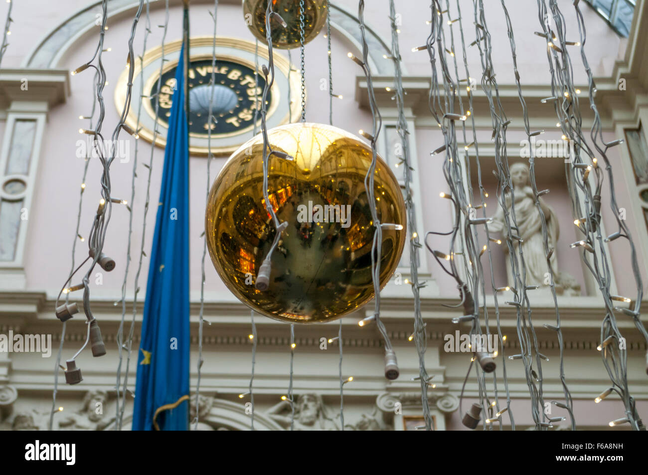 Christmas ornament reflection of the Galeries Royales Saint-Hubert, a traditional shopping arcade in Brussels, Belgium. - Stock Image