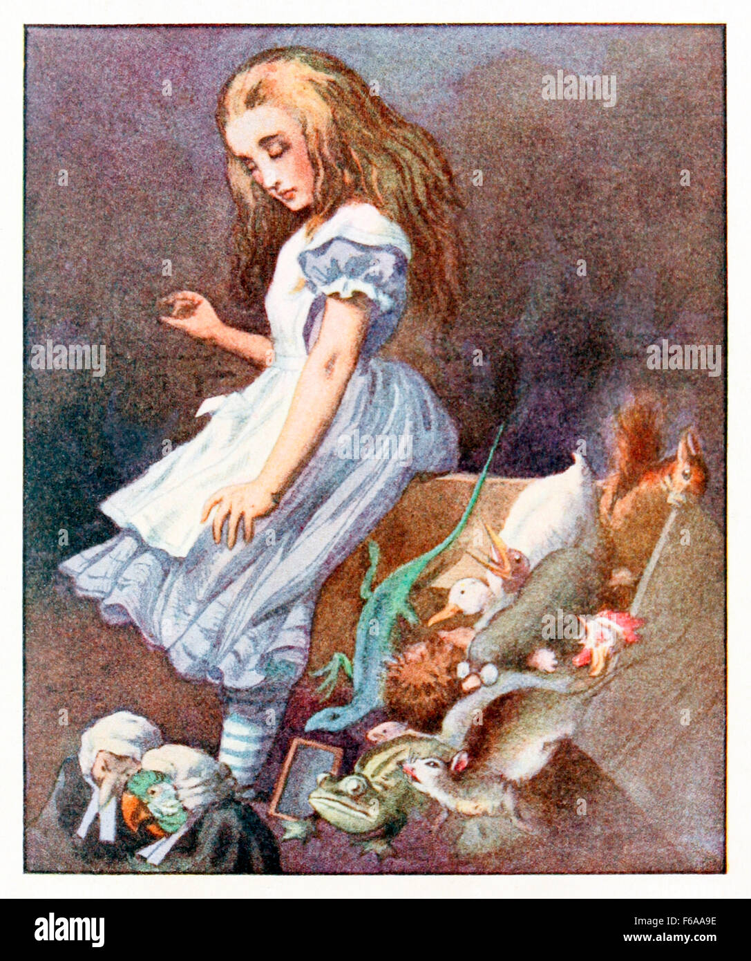 'She jumped up in such a hurry that she tipped over the jury-box with the edge of her skirt' from 'Alice's - Stock Image