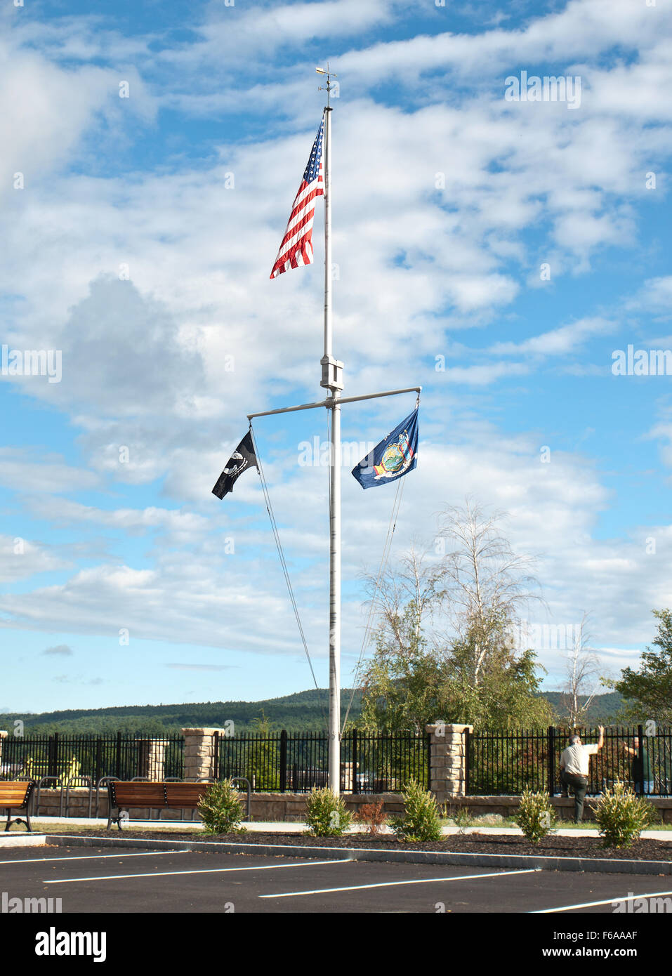 Lake George Beach State Park Flags Fly Over Main Parking Area To Lake George Beach State Park
