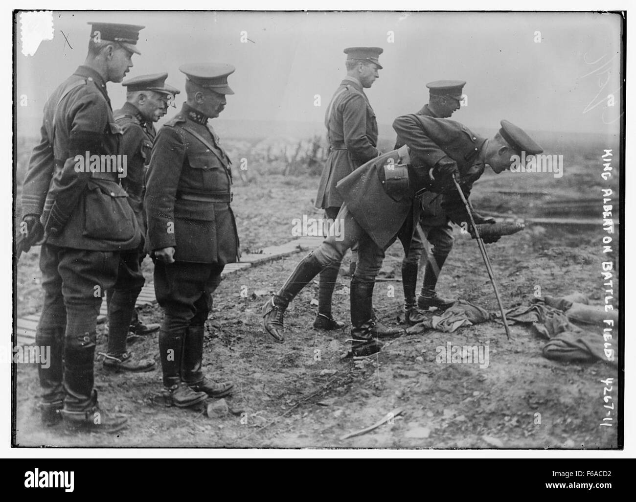 King Albert on Battle Field - Stock Image