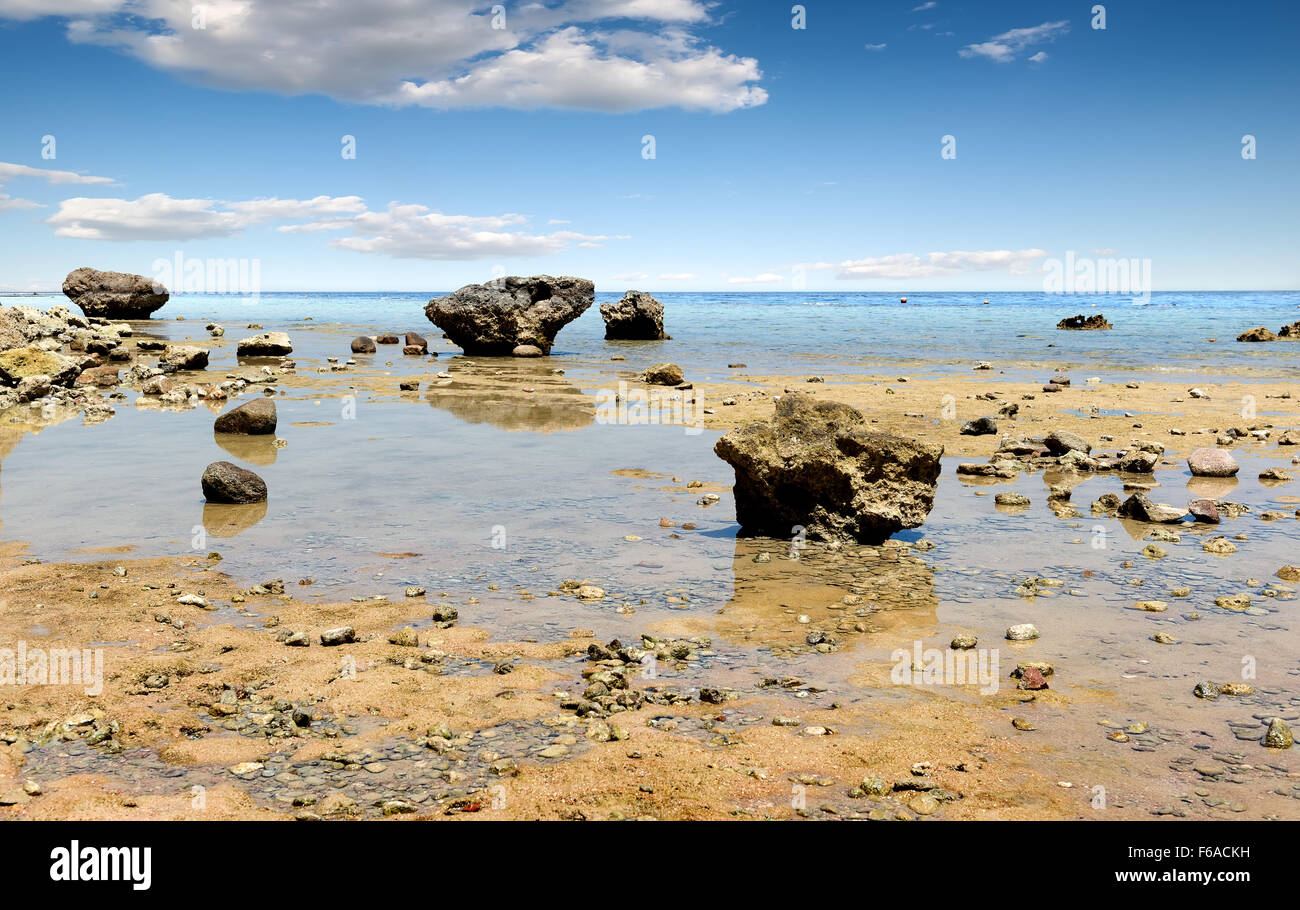 Low water on beach of the Red sea Stock Photo