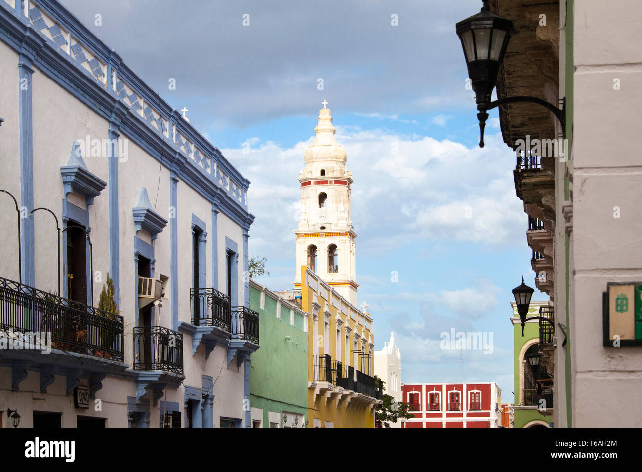 Cathedral tower and street in the colorful city of Campeche, Campeche, Mexico. - Stock Image