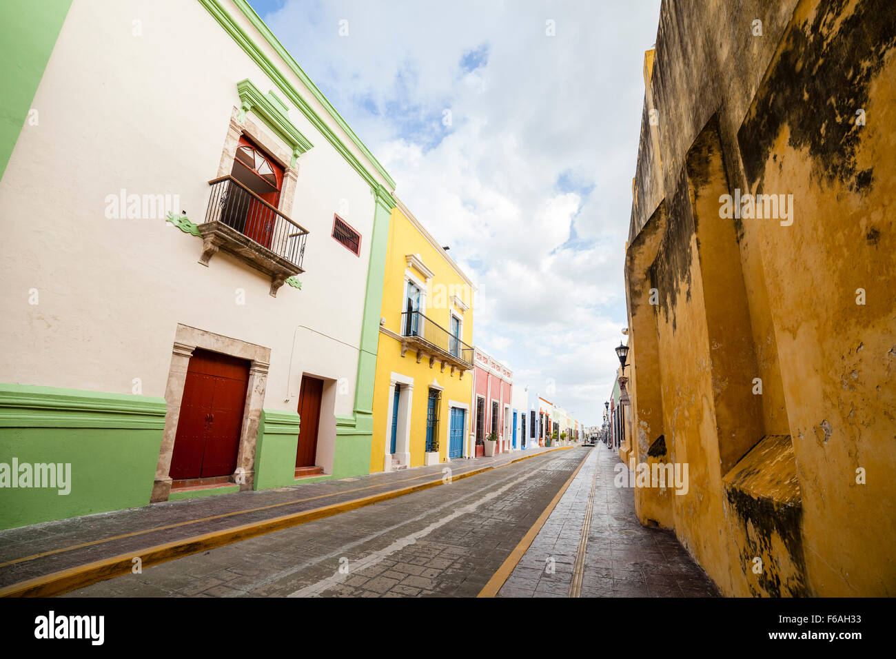 Colorful street in the city of Campeche, Mexico. - Stock Image