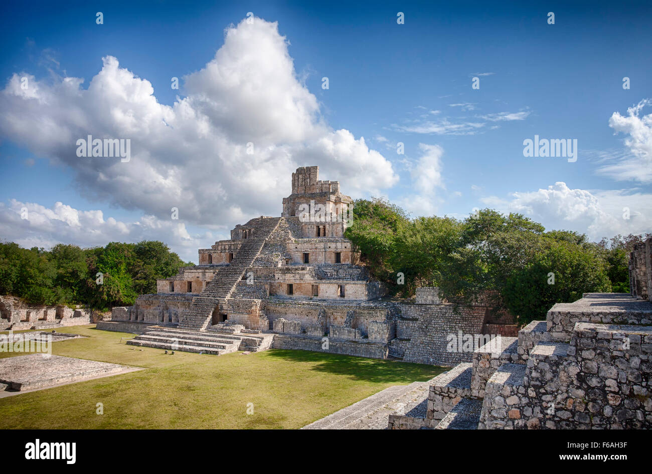 The Five Story Pyramid at the Mayan ruins of Edzna, Campeche, Mexico. Stock Photo