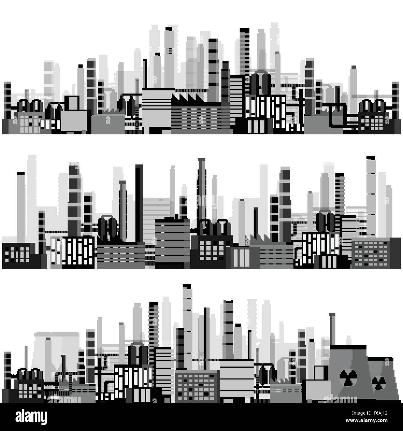Vector illustration. Industry. Power plant. Factory. Industrial silhouettes. Engineering, construction. Gas and - Stock Vector