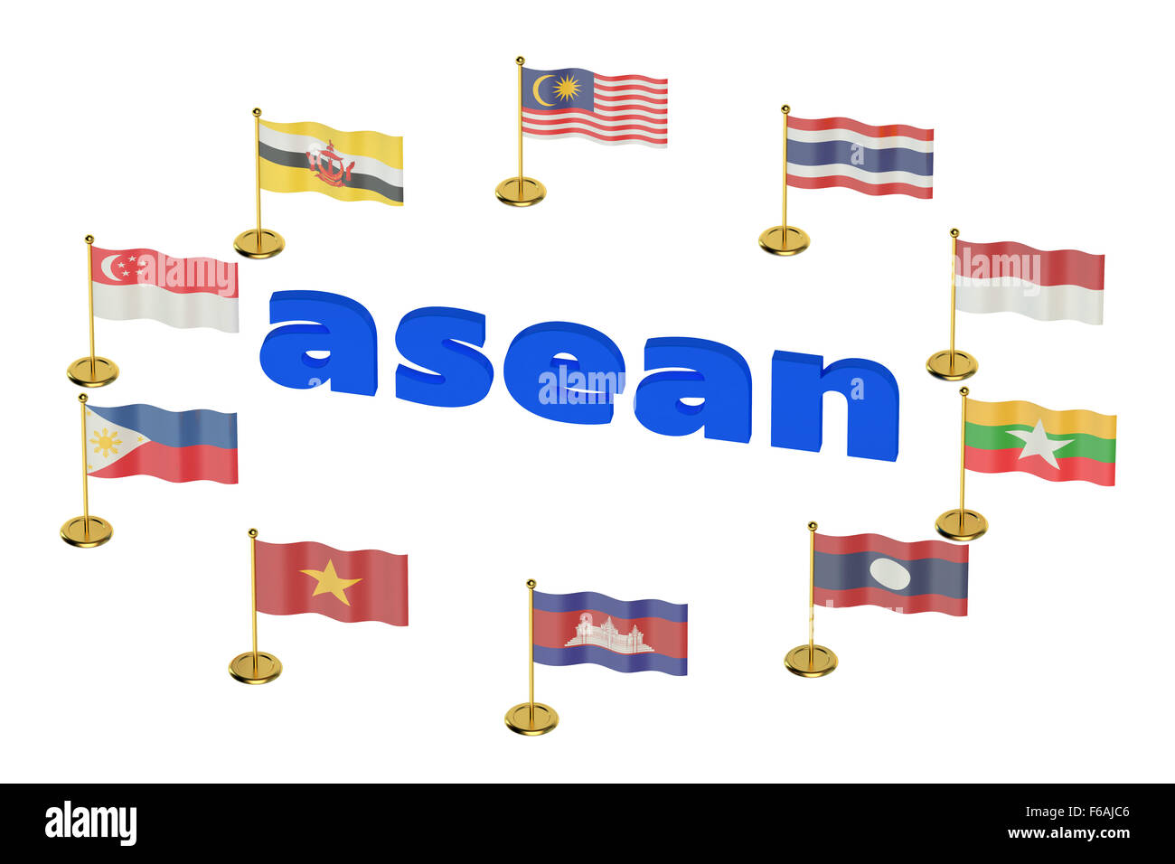 ASEAN concept  isolated on white background - Stock Image
