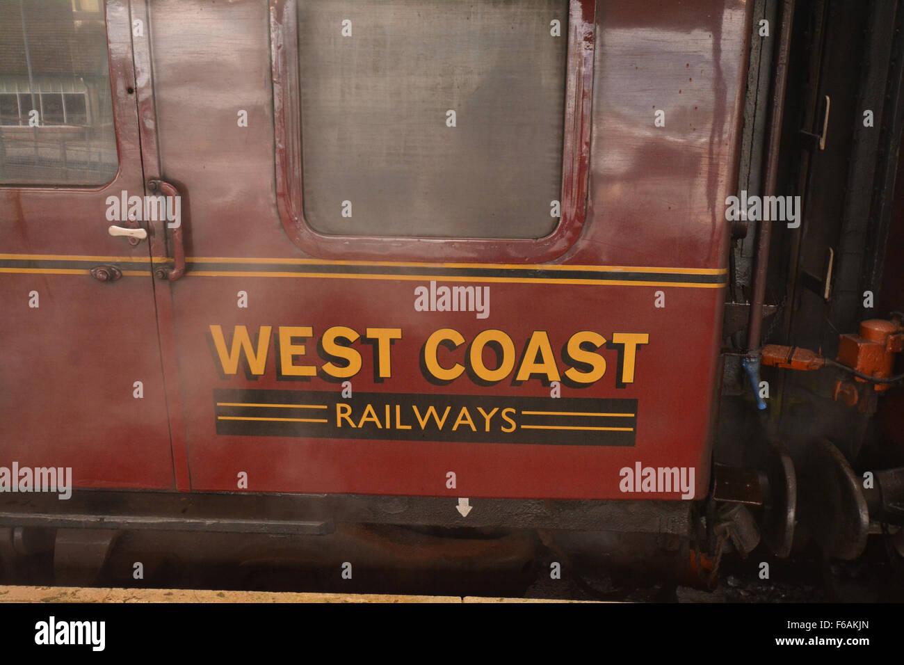 West Coast Railways Jacobite steam locomotive train at the platform in Fort William, Scotland, UK - Stock Image