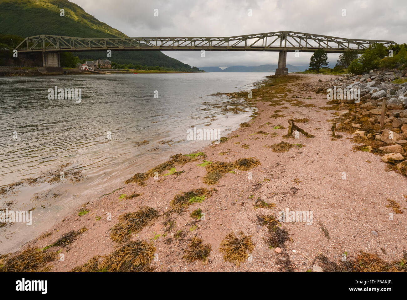 Ballachulish bridge carrying the A82 main route between Glasgow and Inverness across the narrows between Lochs Leven - Stock Image