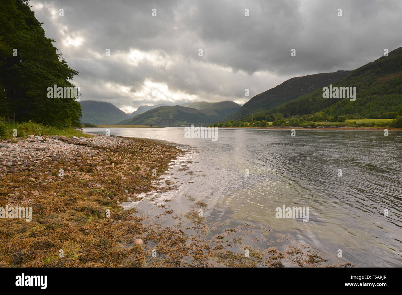 Loch Leven as seen from the lochside at North Ballachulish on a grey summers day,  Scottish Highlands - Stock Image
