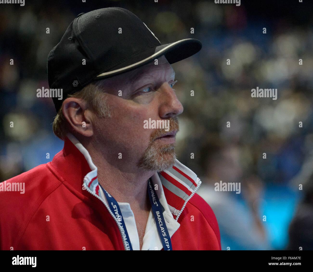 London, UK. 15th November, 2015. ATP Tennis Tour Finals. Day 1.ATP Tour Finals. Day 1. Boris Becker Head Coach of - Stock Image