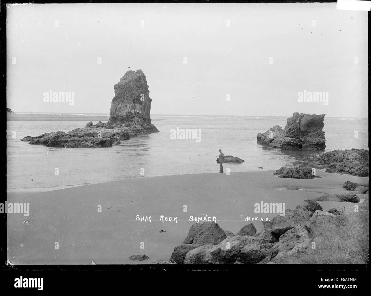 View of Shag Rock at Sumner, near Christchurch - Stock Image