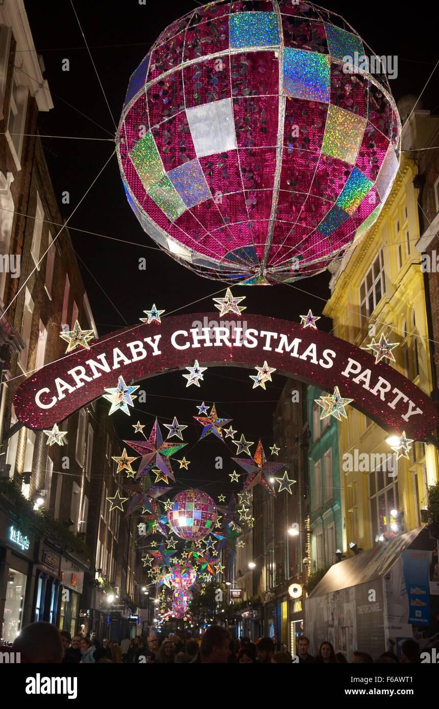 2015 Christmas lights on Carnaby Street, London, England, UK - Stock Image