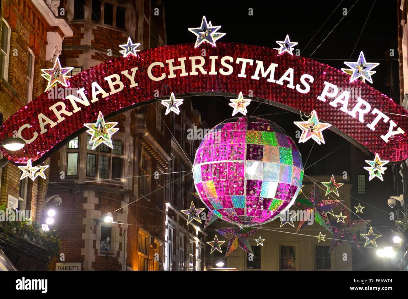Christmas lights on Carnaby Street, 2015, London, England, UK - Stock Image