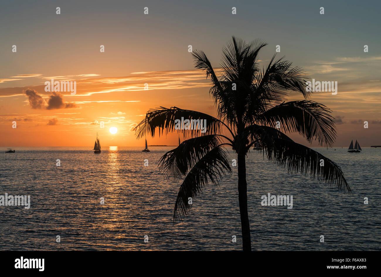 Sunset from Key West near Westin Hotel - Stock Image