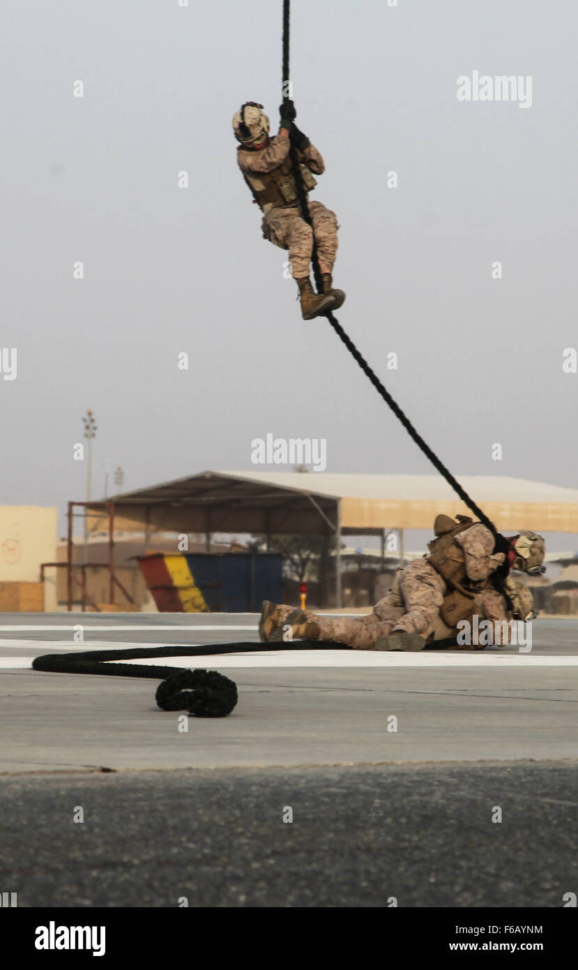 U.S. Marines with India Company, 3rd Battalion, 7th Marine Regiment, Special Purpose Marine Air-Ground Task Force—Crisis Stock Photo