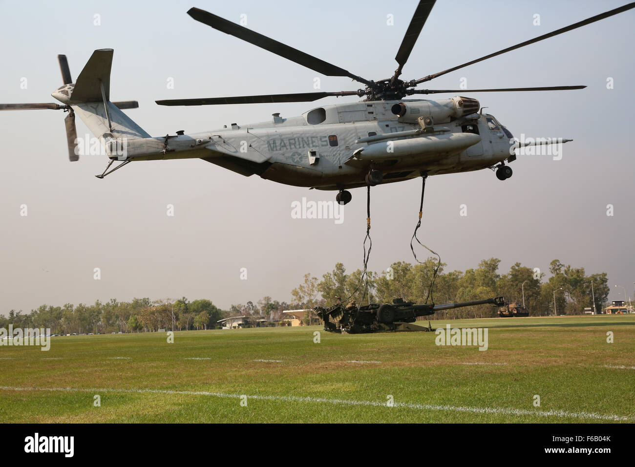 A U.S. Marine Corps CH-53E Super Stallion helicopter with Marine Heavy Helicopter Squadron 463, Marine Rotational - Stock Image