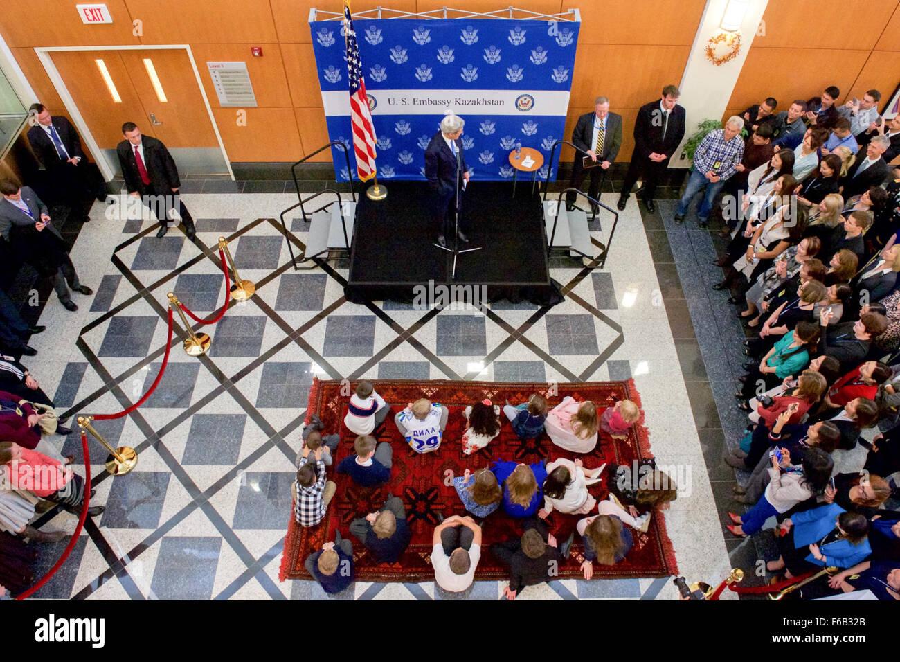 Secretary Kerry Addresses Parents and Kids at a Meet and Greet at U.S. Embassy Astana - Stock Image