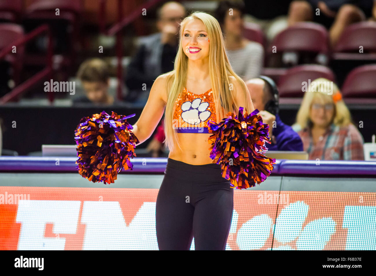 Clemson Rally Cats Perform During A Timeout In The Ncaa