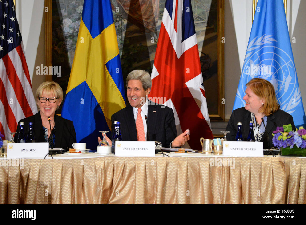 Secretary Kerry and Swedish Foreign Minister Wallström Co-Host a Call to Action Ministerial on Gender-Based - Stock Image