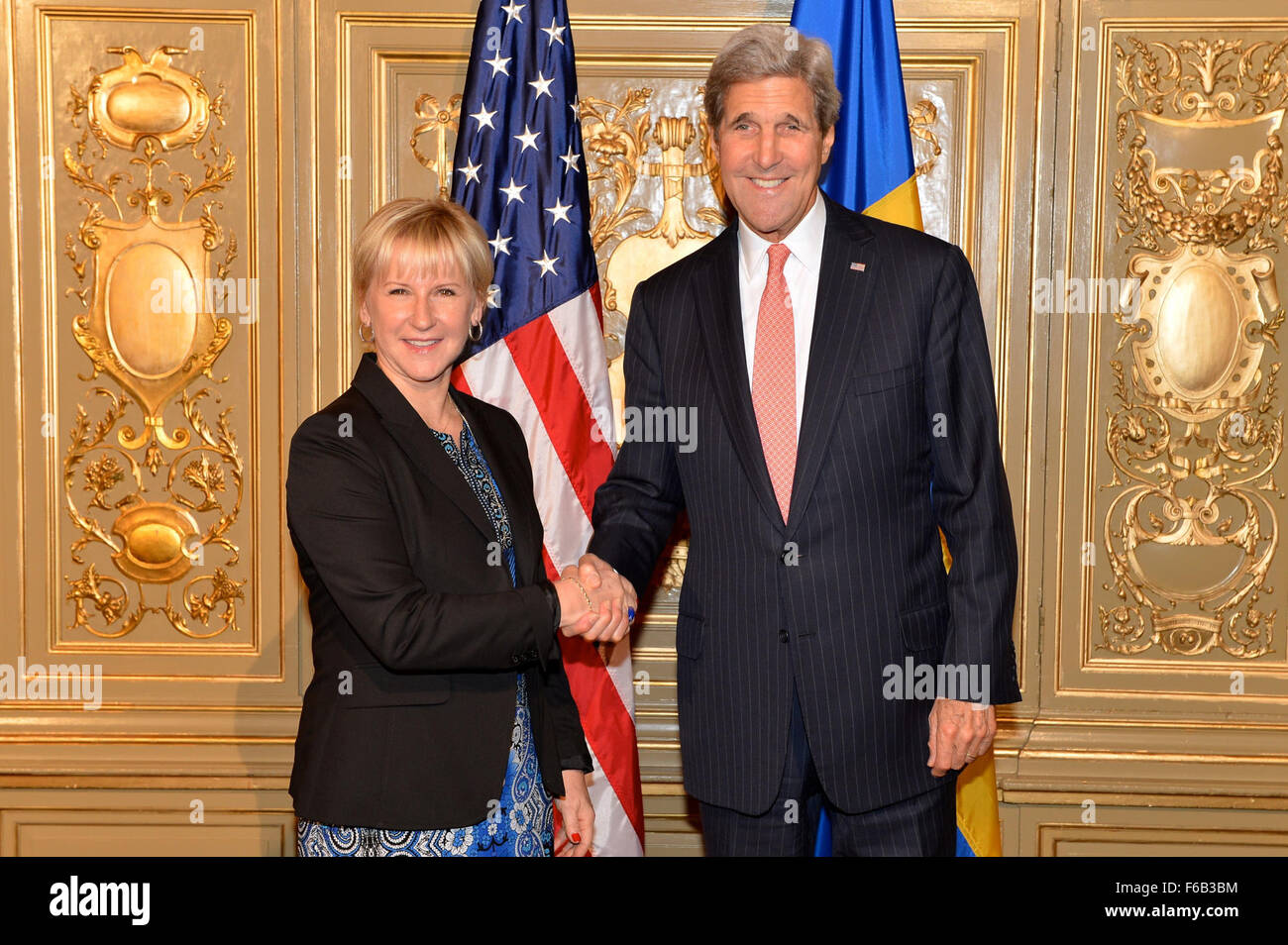 Secretary Kerry and Swedish Foreign Minister Wallström Pose for a Photo Before Co-Hosting the Ministerial on - Stock Image