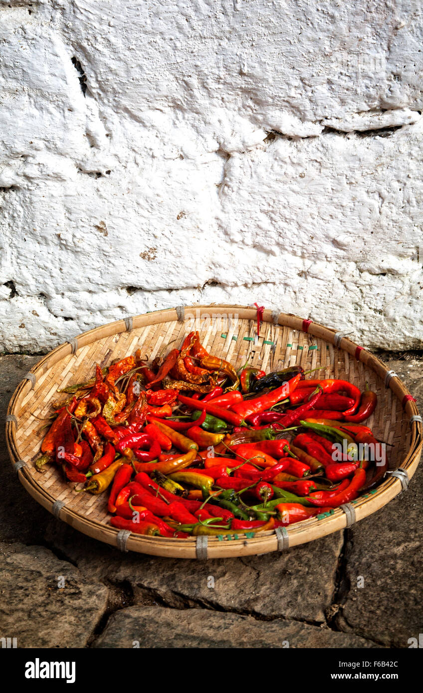 Chillies set out to dry.  Bhutan - Stock Image