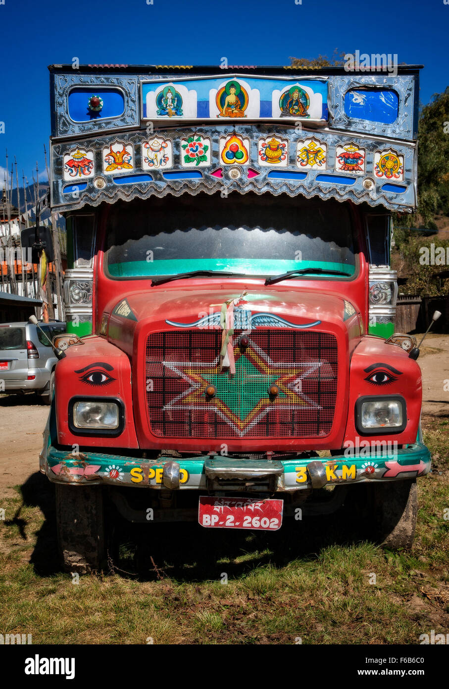 A commercial truck in Bhutan. - Stock Image