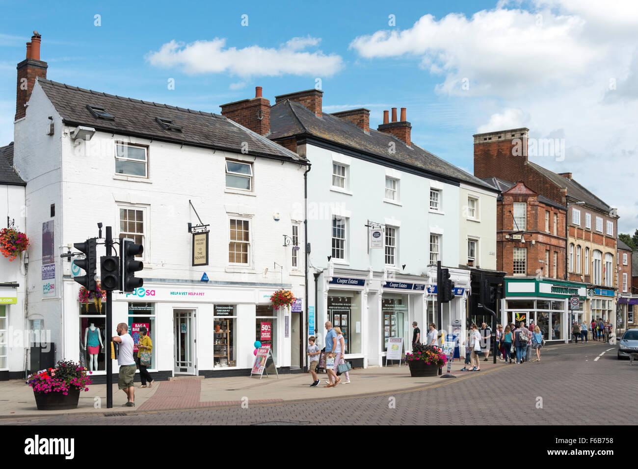 Shops on The Square, Market Harborough, Leicestershire, England, United Kingdom - Stock Image