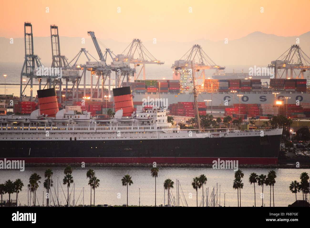 historic ocean going liner Queen Mary at permanent docking in Long Beach harbor California USA - Stock Image