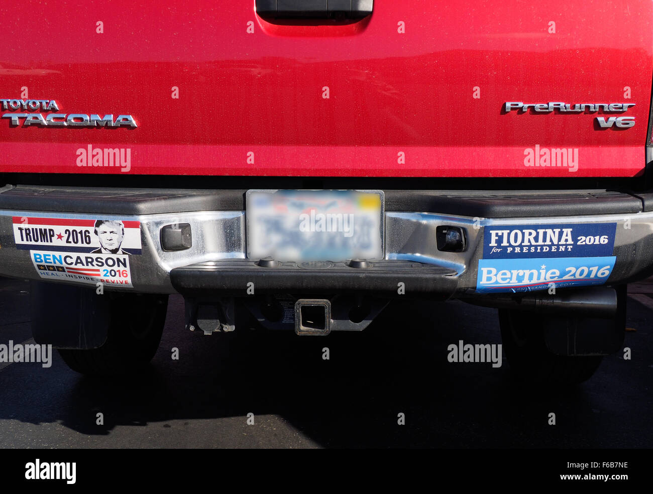 Democrat and Republican Presidential Bumper Stickers - Stock Image